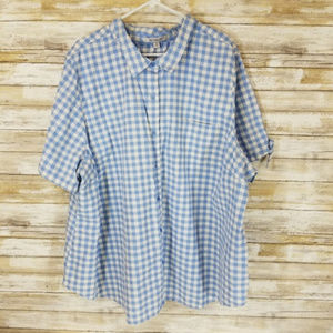 Roaman's blue & white gingham button down shirt